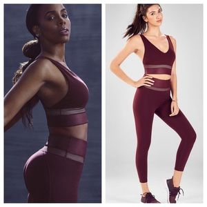 Fabletics Rhythm Kelly Rowland Wine Bra Bottom Set